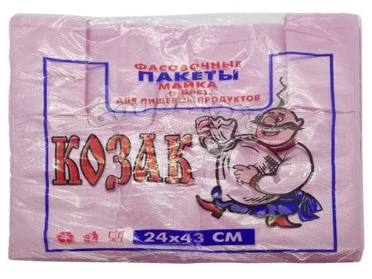 Пакет майка, Козак, розовый, для пищевых продуктов, 240*430 мм. 100 шт.