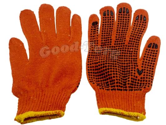 Перчатки ХБ оранжевые 12 пар (продажа упаковкой)