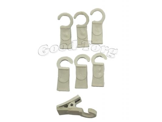 Зажим (ГАК) для шторы, 3,5*1 см., пластиковый крючок, белый 100 шт.
