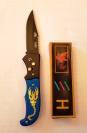 Нож выкидной Скорпион вид N 2 цветной рисунок 22 см.