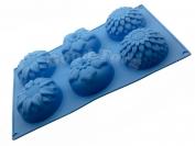 Силиконовая форма для выпечки Цветы 6 асорти мелкие Гл. 3.5 см. Дл 28.5 см. Шир. 17.5 см. диам. ячеек 7 см.