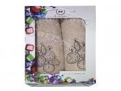 Набор полотенце Турция Cotton 2 шт. коричневый лицо 35*70 см. + баня 70*140 см.