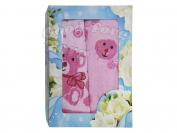 Полотенца Китай - набор 2 шт. цвет розовый, лицо 35*70 см. + баня  70*140 см.
