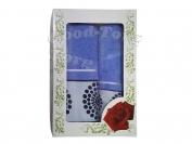 Полотенца Китай - набор 2 шт. цвет голубой, лицо 35*70 см. + баня  70*140 см.