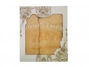 Набор полотенце Венгрия желтый цвет. 2 шт. Баня 70×1.4 м + лицо 50×90