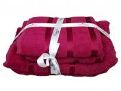 Набор полотенца 2 шт. лицо + 2 шт. баня (Турция) цвет - бордовый/красный