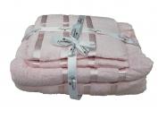 Набор полотенца 2 шт. лицо + 2 шт. баня (Турция) цвет - розовый