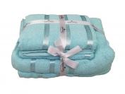 Набор полотенца 2 шт. лицо + 2 шт. баня (Турция) цвет - голубой/бирюзовый