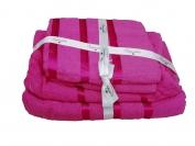 Набор полотенца 2 шт. лицо + 2 шт. баня (Турция) цвет - малиновый